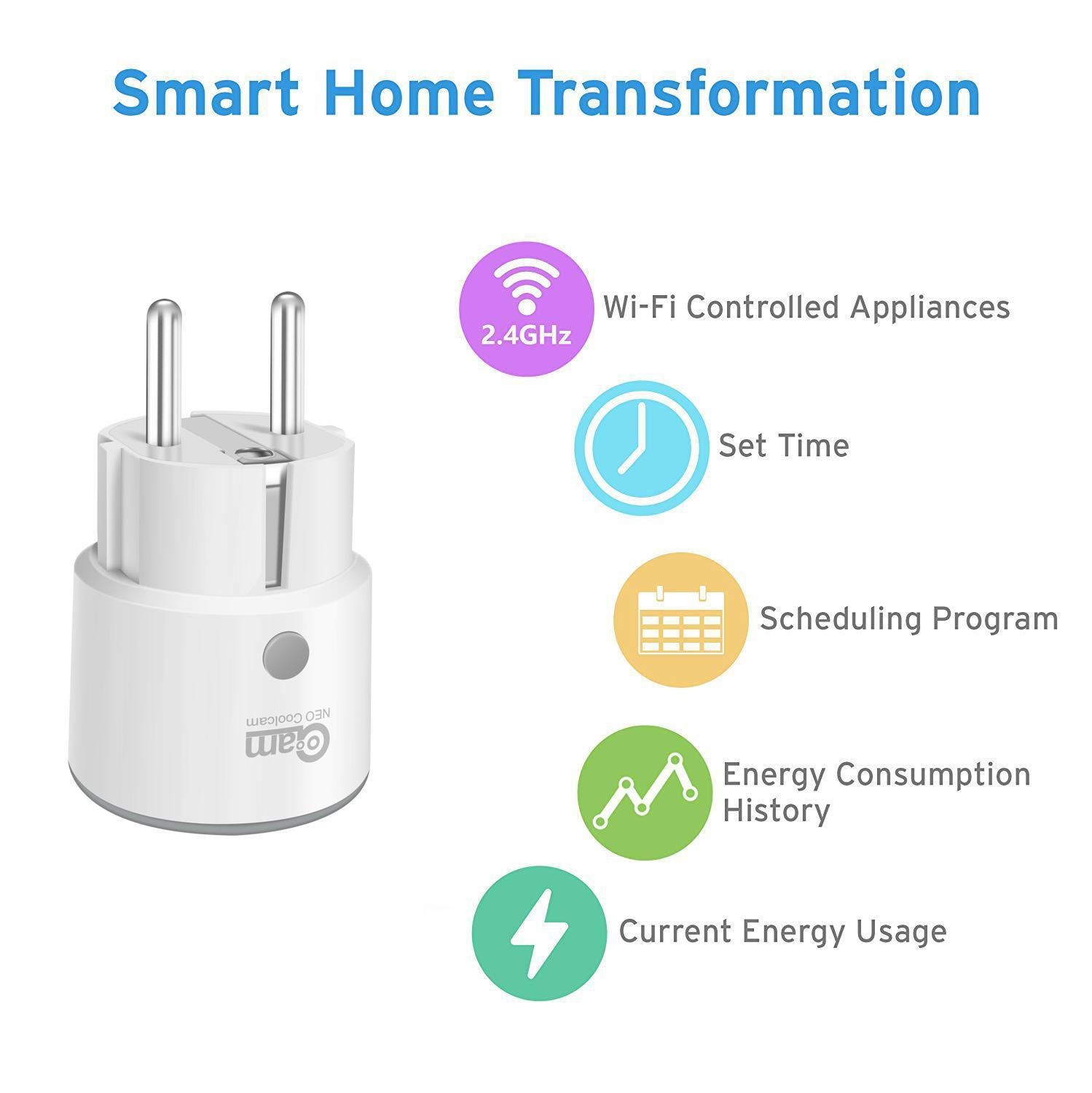 NEO Coolcam France Smart Plug Support Amazon Alexa Google Home,IFTTT Remote Control WiFi Switch Mini Socket Outlet Timer