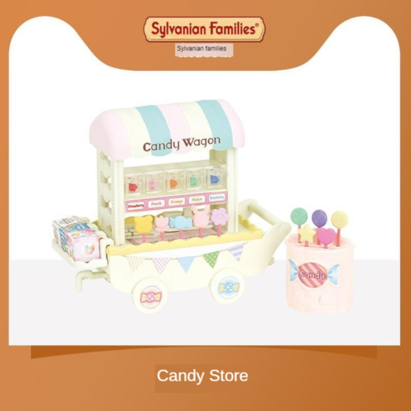 Sylvanian Families Toy Sylvanian Families Candy Store Trolley GIRL'S Play House Model Shopping Store 5266
