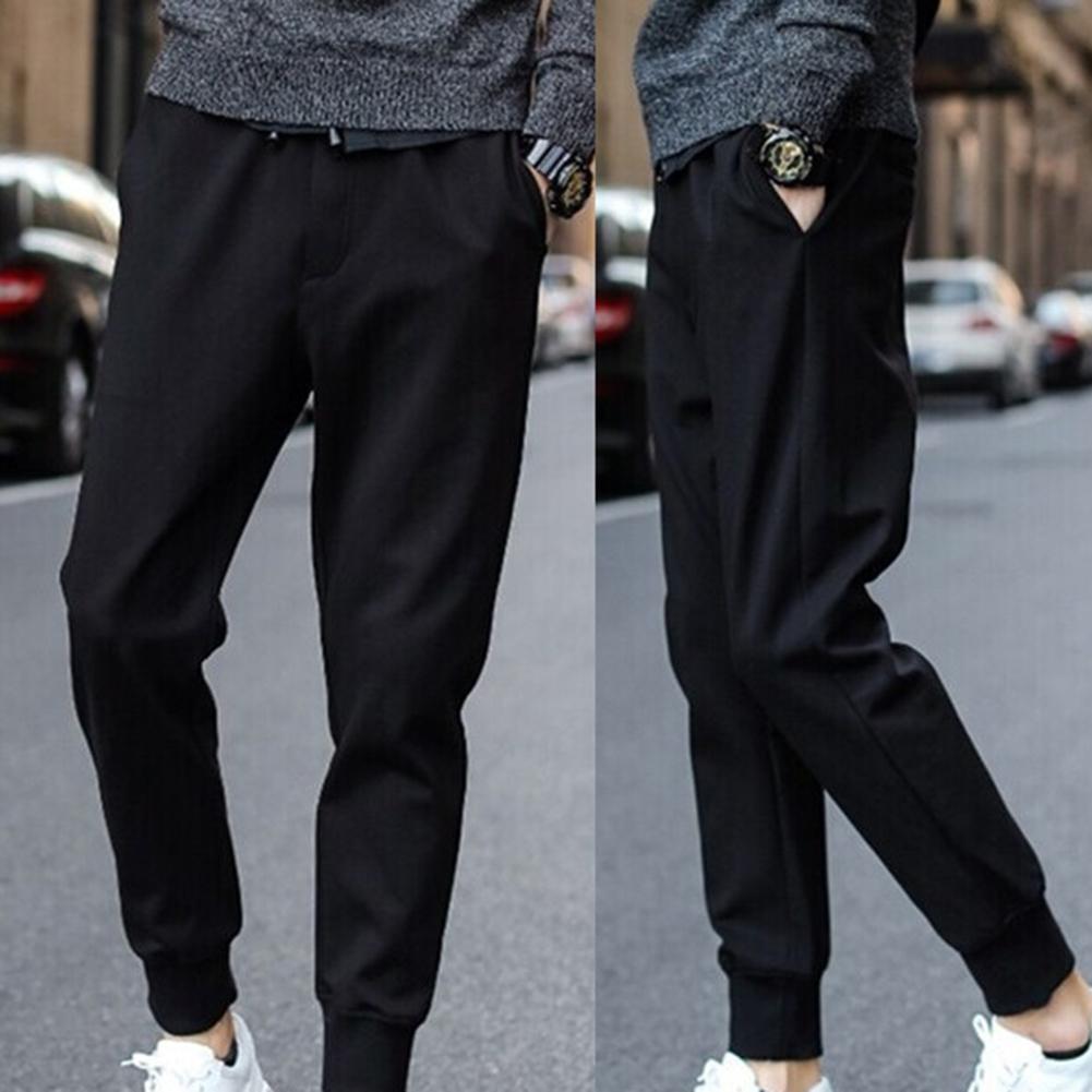 Men Casual Waist Drawstring Ankle Tied Pockets Fitness Sports Long Pencil Pants Street Hanger Basic Stretch Elastic Waist Pants