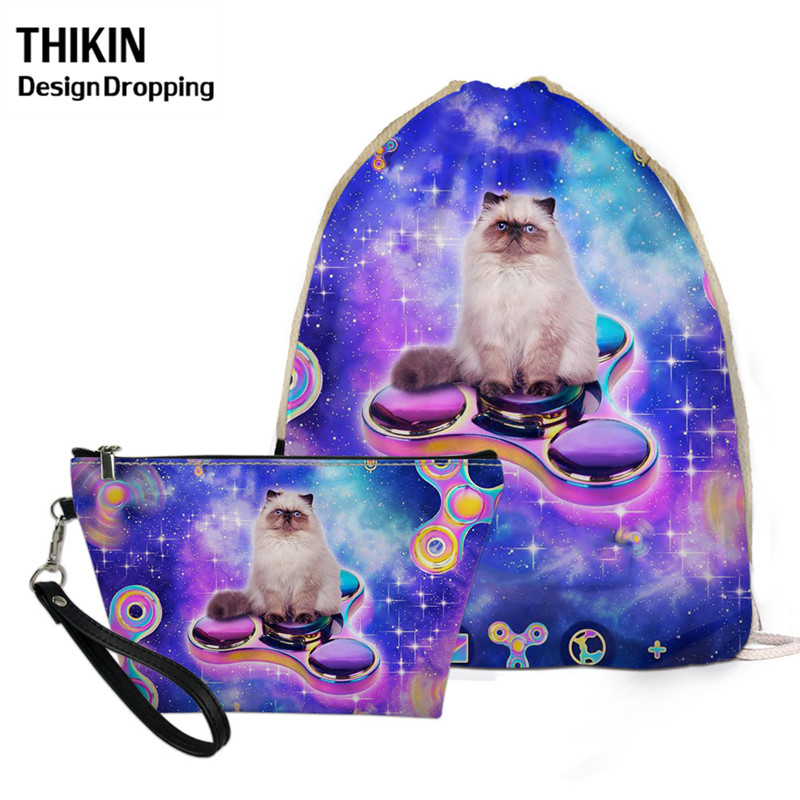 THIKIN Galaxy Custom Logo Cloth Bag For Girls Cute Himalaya Longhair Cats Pattern Drawstring Backpack Portable Wholesale Bags