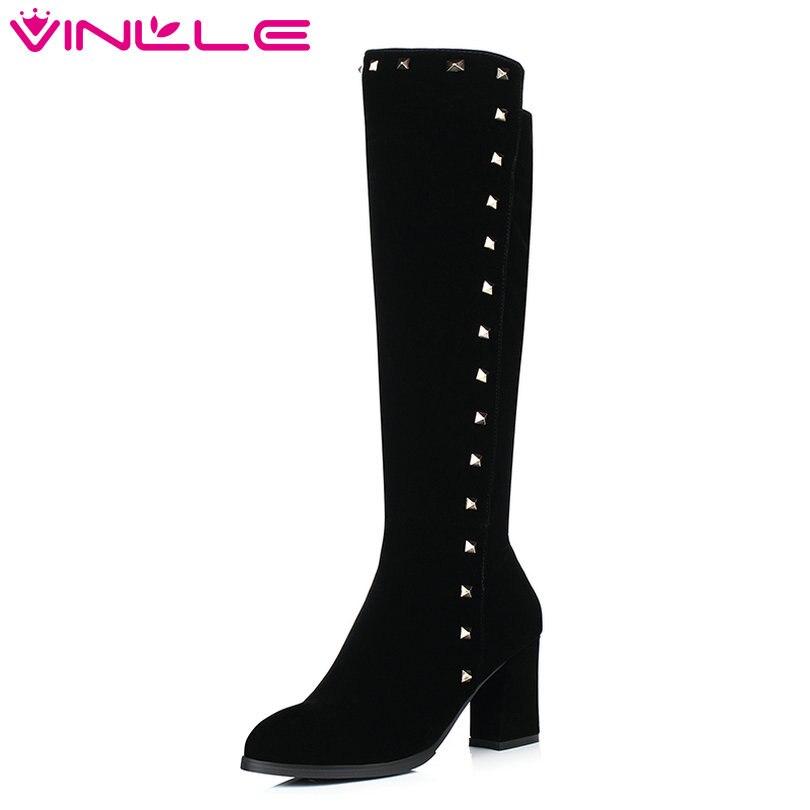 VINLLE/2018; женские Сапоги выше колена; женские мотоциклетные сапоги из искусственной кожи на высоком квадратном каблуке с острым носком и закл