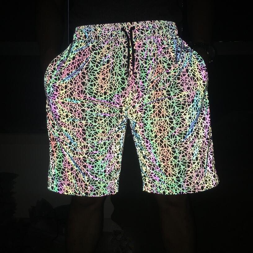 New Arrival Men Women Colorful Reflective Shorts Hip Hop DJ Punk Printed Streetwear Hot Shorts Plus Size 3XL  Pantalones Cortos
