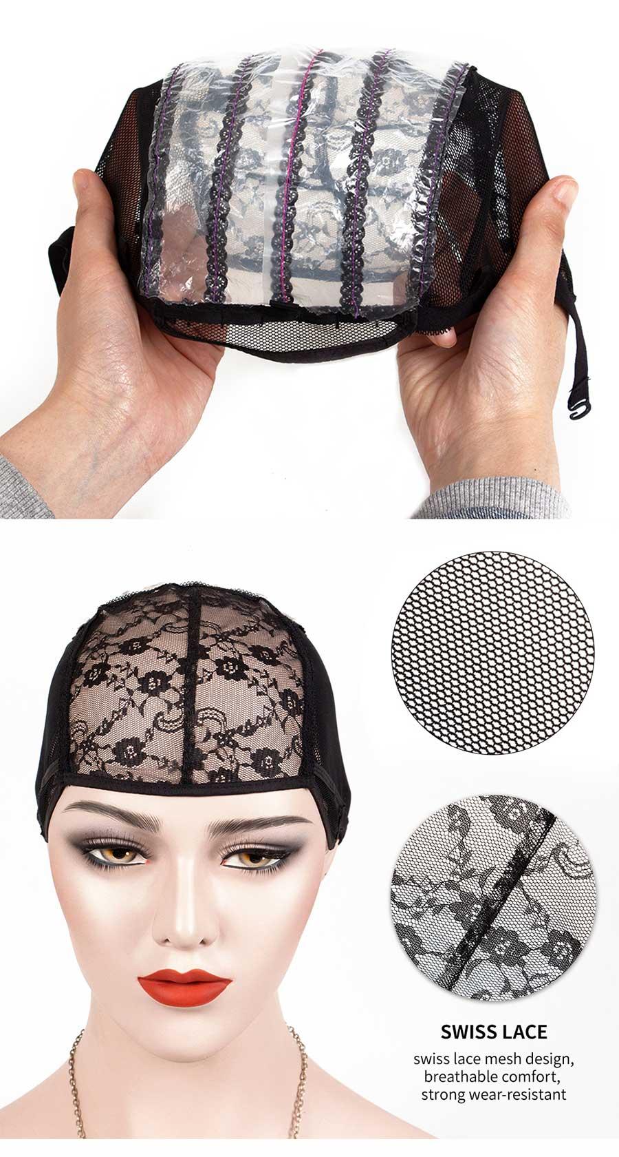 para fazer perucas tecelagem estiramento ajustável preto