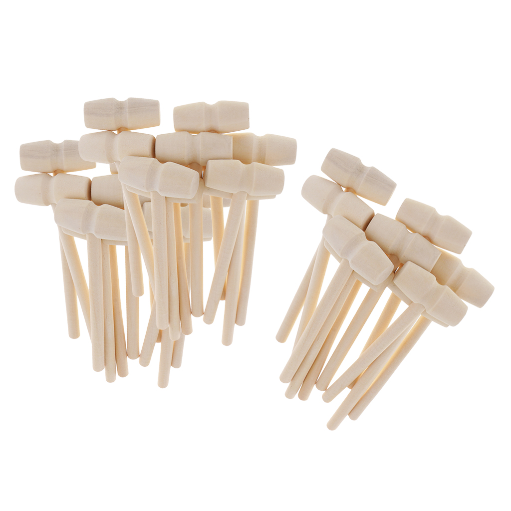 30 Pieces Small Wooden Hammers Bulk Mallets For Kid Crafts Perfect Size For Small Hands, Also Great Seafood Kitchen Mallet