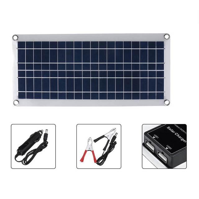 50W Solar Panel 12V 5V USB Portable Solar Panel Cells+ 10/20/30/40A Controller for Car Yacht RV Charging Outdoor Emergency Light 6