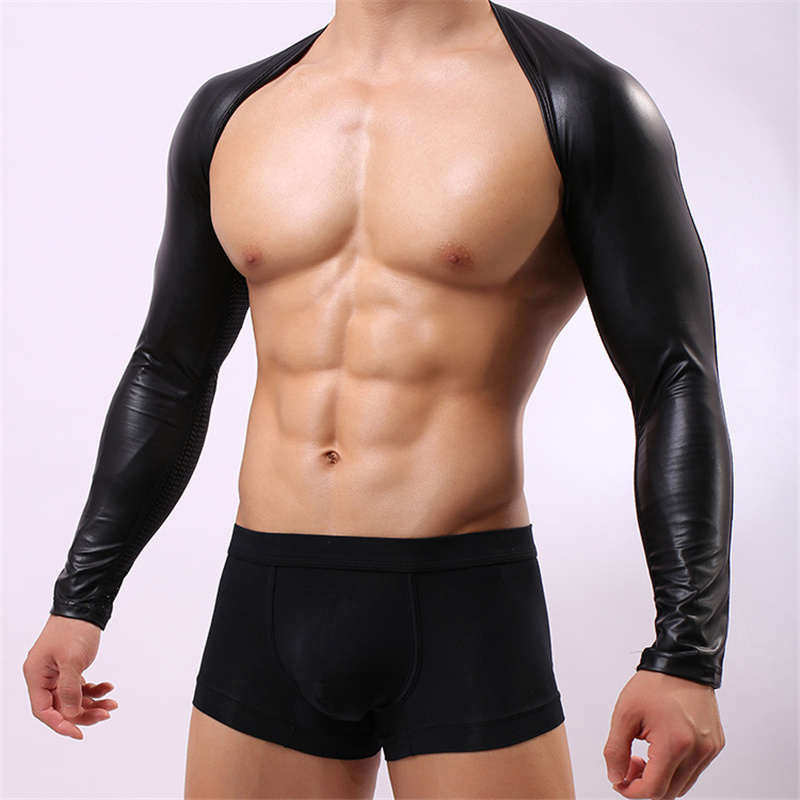 Men Shoulder Arm Guard Arm Sleeve Nylon Lycra Mesh PU Leather Breathable Man Stage Performance Bodyshaping Top Wears
