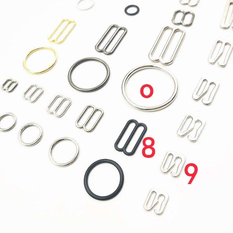 30pc black Bra Strap adjustment Slider 8mm O ring hook Bra Lingerie Supplies