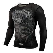 Hot Sale Fitness MMA Compression Shirt Men Anime Bodybuilding Long Sleeve Workout 3D Superman Punisher T Shirt Tops Tees(China)