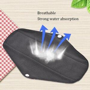 Image 3 - 5 pçs lavável pano de toalha sanitário almofadas menstruais reutilizáveis almofada sanitária absorvente reutilizável pano de carvão de bambu almofadas menstruais
