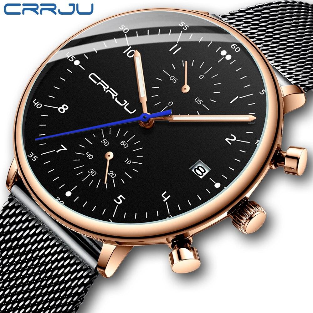 Mens Watch 2019 CRRJU Luxury Men Stainless Steel WristWatch Mens Military Full Steel Date Quartz watches relogio masculinoQuartz Watches   -