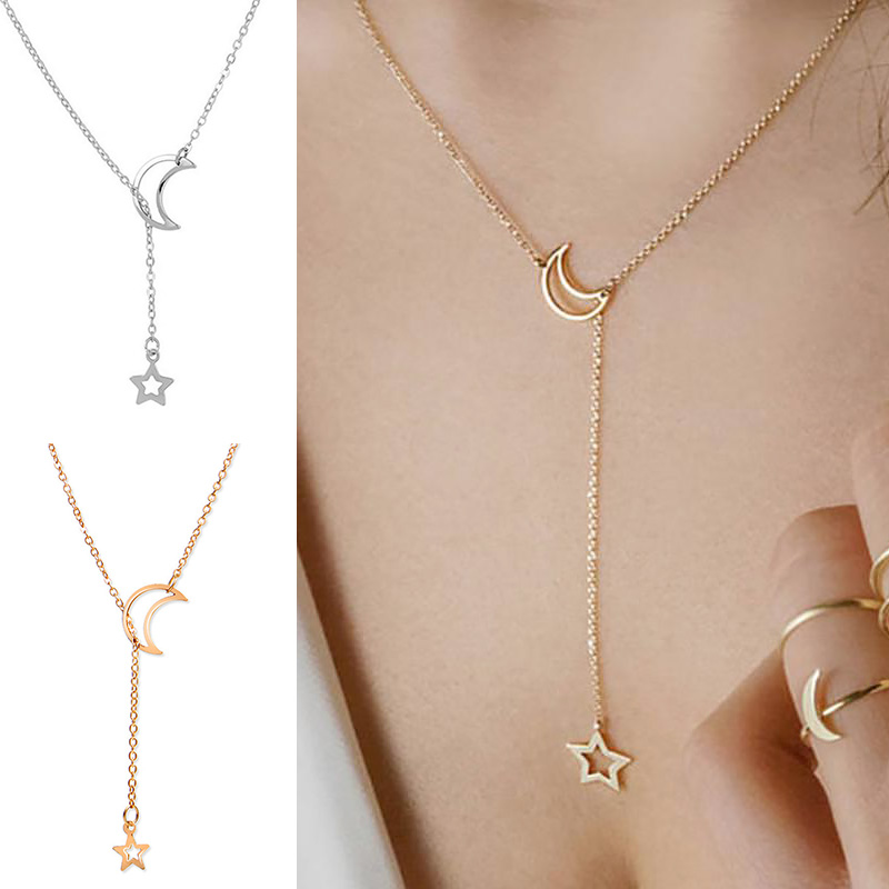 Fashion Moon Star Pendant Chain Necklace For Women Female Long Gold Silver Color Luxury Hollow Choker Jewelry Accessories Gifts