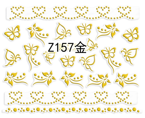 New Style Nail Sticker Ultra-Thin Gold Heart Nail Jewelry Nail Sticker Z157-168 Gold And Silver Black And White