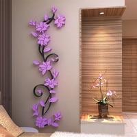 3D Acrylic Wall Sticker DIY Rose Flower Vine Wall Decals Mural Art Wallpaper Home TV Sofa Background Wall Poster Decoration