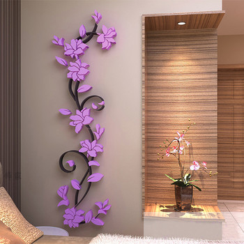 3D Acrylic Wall Sticker DIY Rose Flower Vine Wall Decals Mural Art Wallpaper Home TV Sofa Background Wall Poster Decoration 1