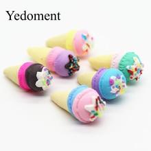 12 pçs/lote 15*35 MILÍMETROS Rainbow Ice Cream Cabochão Kawaii Suave Argila Handmade Material de Resina DIY Cabelo Arco Decorativo M19110602