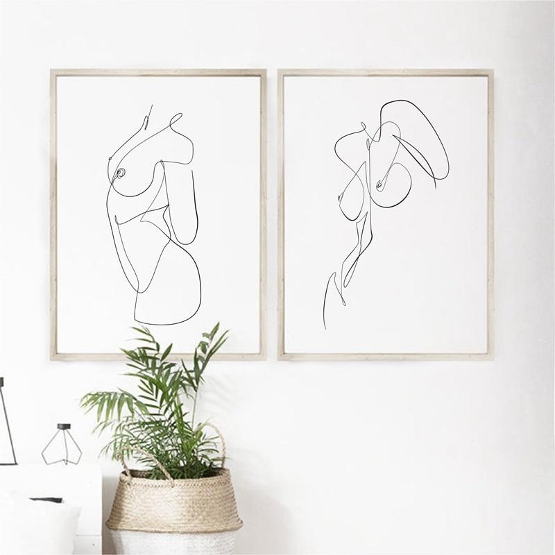 Female Line Wall Art Prints Bedroom Decoration