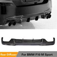 BMW 5 시리즈 F10 M 스포츠 범퍼 2012 - 2016 탄소 섬유/FRP 블랙 카 스타일링을위한 후면 범퍼 디퓨저 립 스포일러