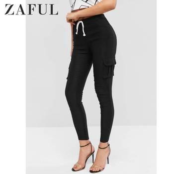 ZAFUL Flap Pockets Drawstring Skinny Pants High Elastic Waisted Autumn Outdoor Capris For Women Solid Drawstring Pencil Pants фото