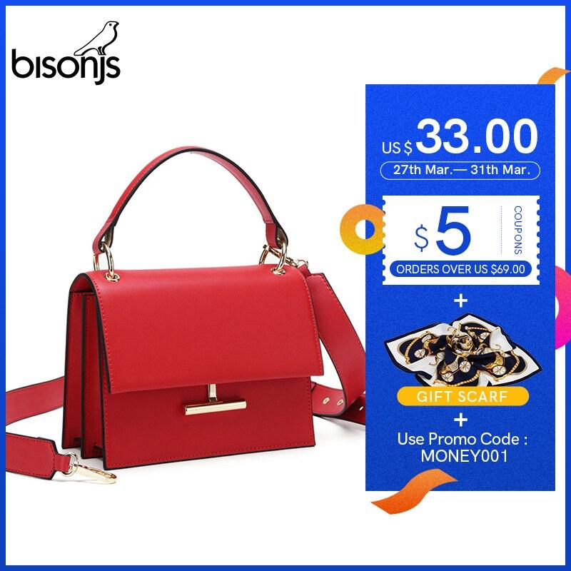 BISONJS Luxury Handbags Women Bags Designer Cow Leather Fashion Crossbody Bags For Women  Ladies Shoulder Bag Bolsa B1616