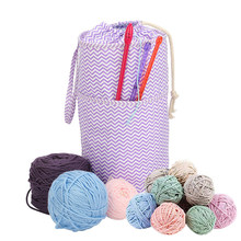 Empty Yarn Storage Bag For Crochet Hook Knitting Needles Thread Wool Holder Sewing Kit Bag with Drawstring Yarn Holder Case(China)