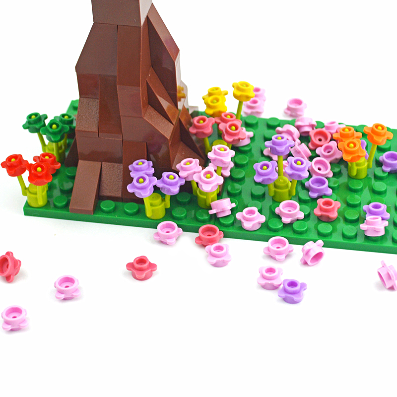 Building-Blocks Flower Diy Bricks Garden Tech-Toys Tree-Grass River-Baseplate Educational
