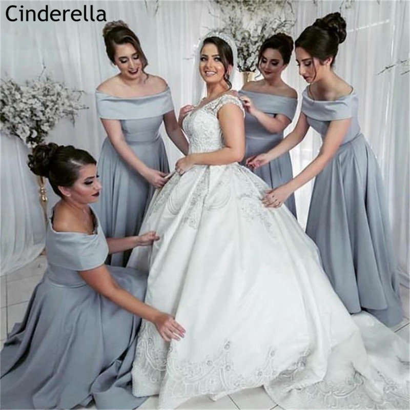 Charming Gray Off The Shoulder Lace Up Back Floor Length Satin A-Line Bridesmaid Dresses Wedding Party Bridesmaid Gowns