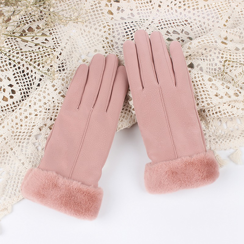 High Quality Winter Plush Velvet Full Finger Touch Screen Cold Protection Thermal Gloves Women Casual Solid Cute Furry Mittens