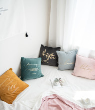 1Pc Hot Stamping Pillowcase Square Cushion  Decorative Soft Throw PillowsCovers for Sofa Bed Home,18X18 inch,45 x 45cm