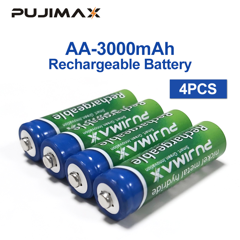 PUJIMAX Rechargeable Battery 4PCS AA Battery 1.2V 3000mAh  Pre-charged Recharge Ni Mh Rechargeable Battery For Camera Microphone