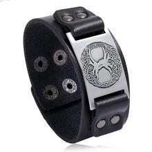 Vintage large Bracelet en cuir véritable couleur argent amulette avec arbre de vie Viking Wicca Bracelet hommes cadeau