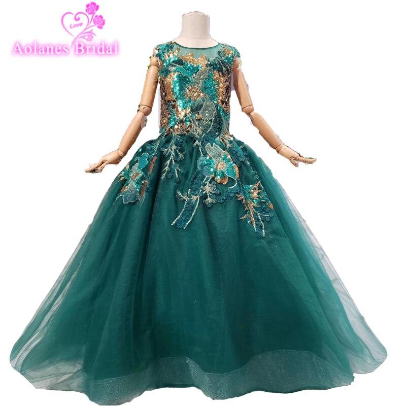 Princesse Tutu robes De bal enfants robes De reconstitution historique étincelle cristal fleur filles robes vert dentelle paillettes Vestidos De Comunion