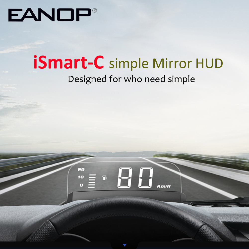EANOP iSmart-C HUD Headsup Projector OBD2 Speed RPM Projector Voltage Oil Consumption for Unviersal Cars