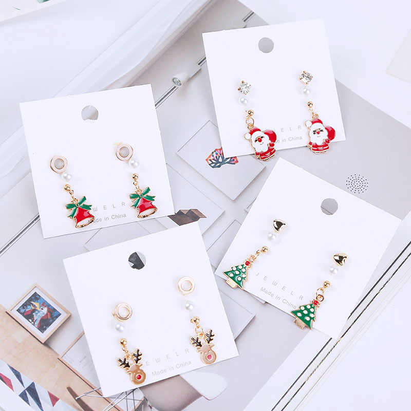 Комплект из 3 предметов, рождественские подарки, с бантом, с принтом рождественского оленя и надписью дерево Санты красного цвета с бантом; платье для ногтей голова оленя серьги в виде посоха для Подарки на Новый год