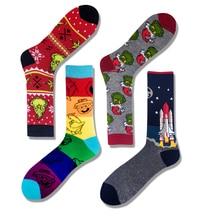 Colorful Cotton Mens Socks Funny bear hambuger bear alien yoda Happy Pizza Skate