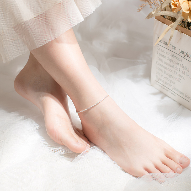 Modian Minimalism Starlight Chain Anklet for Women Authentic 925 Sterling Silver Simple Link Chain Anklet Fine Jewelry Girl Gift