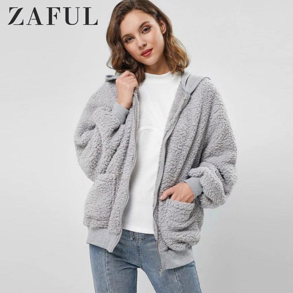 usa cheap sale release date ever popular ZAFUL Hooded Fluffy Zip Up Teddy Coat Women Zipper Wide-waisted ...