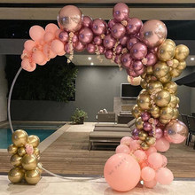 121pcs Chrome Gold Rose Pastel Baby Pink Balloons Garland Arch Kit 4D Rose Balloon Arch Birthday Baby Shower Wedding Party Decor