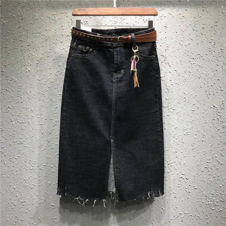 2019 New Style Large Size Fat Mm European Goods Medium-length Dress High-waisted Denim Skirt Women's Autumn And Winter Slimming