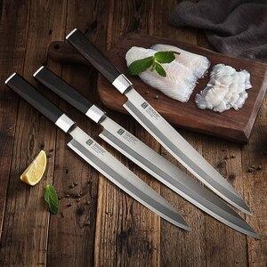 Image 5 - XINZUO 240/270/300 مللي متر السوشي سكين مع غطاء Scabbard X9Cr18MoV الصلب المطبخ السكاكين الساطور الساشيمي سكين خشب الأبنوس مقبض