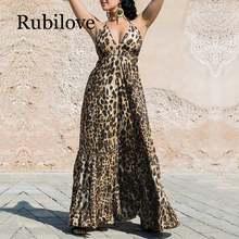 Женское леопардовое платье с оборками длинное летнее макси на