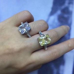 Image 5 - Slzely anillo doble rectangular para mujer, Circonia cúbica grande, Plata de Ley 925 auténtica, amarillo, blanco, joyería para fiesta de compromiso
