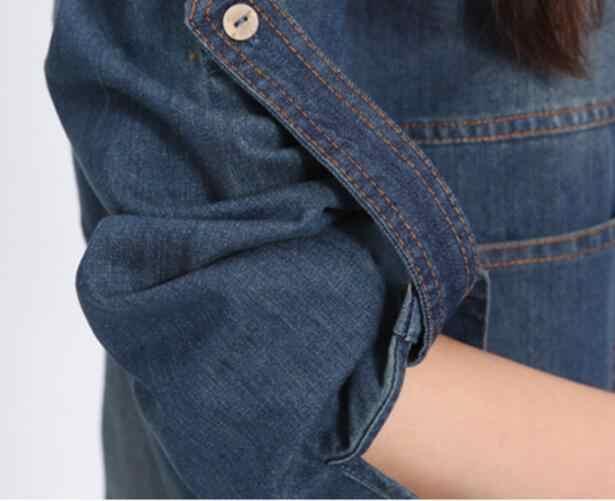 2019 популярное осеннее джинсовое платье с длинным рукавом корейское платье Мори большого размера женское Ретро джинсовое платье повседневное Vestido AW573