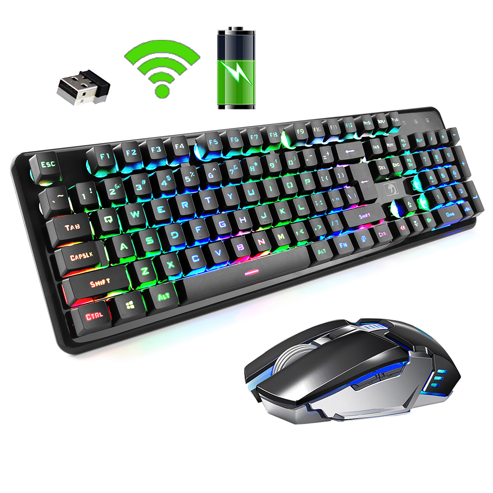 FELiCON 2.4G Wireless Keyboard Mouse Set Rainbow Backlight Usb Receiver Ergonomic Game Keyboard Rechargeable Keyboard Mouse