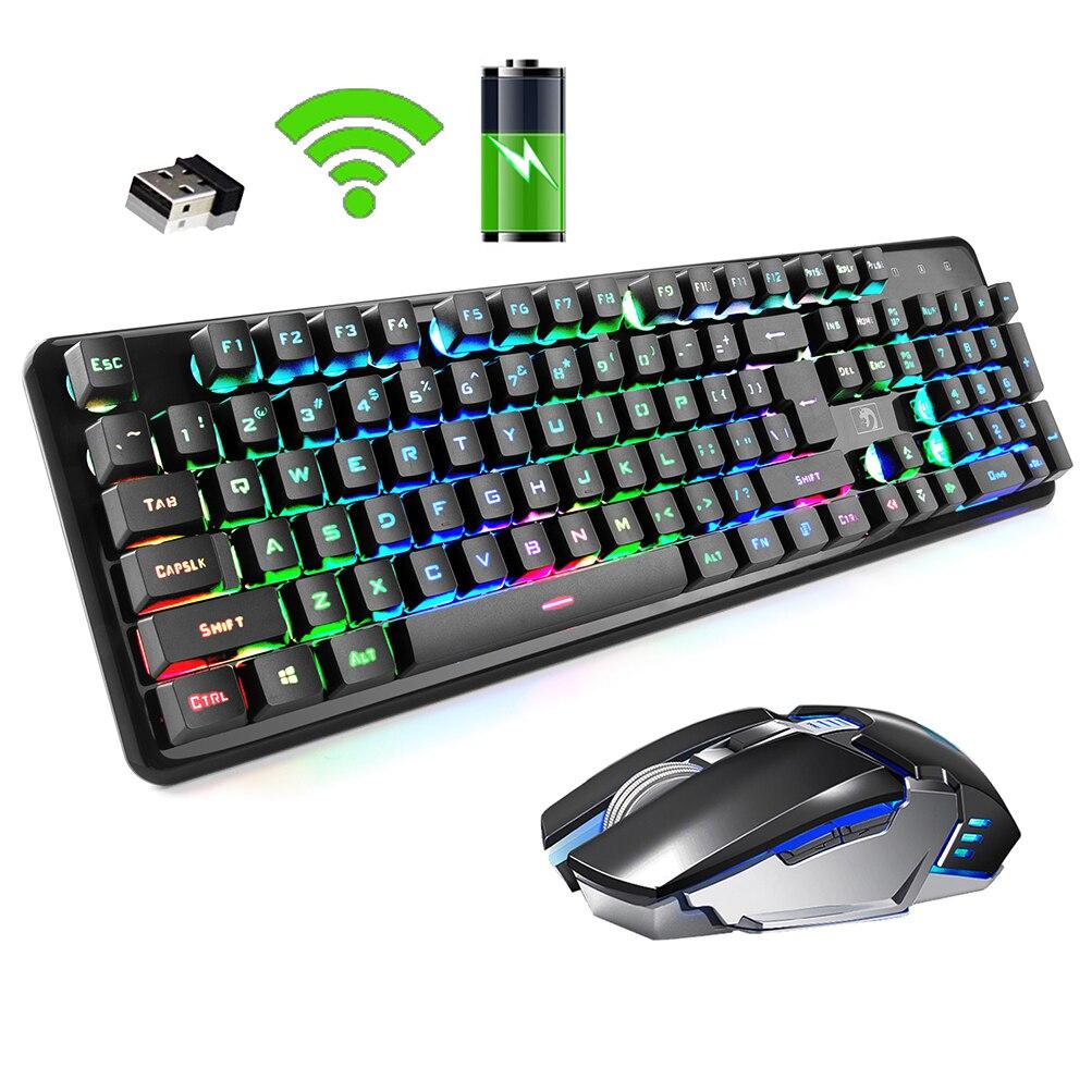 FELiCON 2.4G Wireless Keyboard Mouse Set Rainbow Backlight Usb Receiver Ergonomic Game Keyboard Rechargeable Keyboard Mouse|Keyboard Mouse Combos| - AliExpress