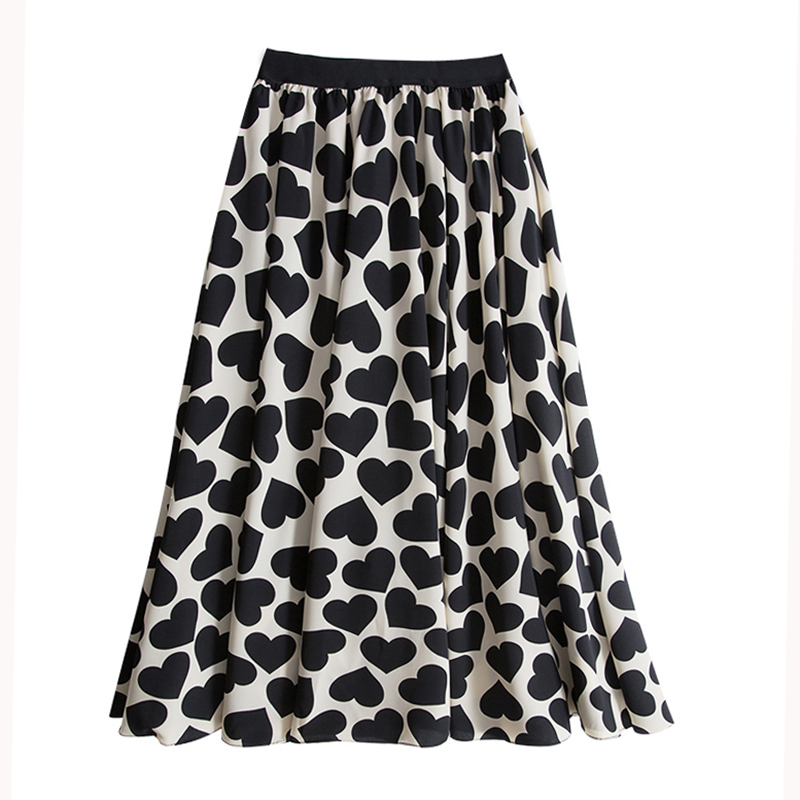 Summer Lovely Hearts Dotted A- Line Long Skirts Elegant Black/White Dots Print Big Flared Pleated Mid-calf Long Skirts image