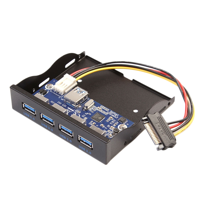 20 Pin Motherboard 4 Port USB3.0 Internal Hub 3.5 Inch Floppy Drive Bay Front Panel