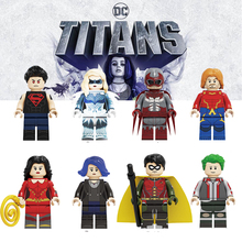 цена на New Action Figure Titans Season Bricks Dove Superboy Hawk Aqualad Raven Robin Beast Boy Building Blocks Toys For Children KF6114