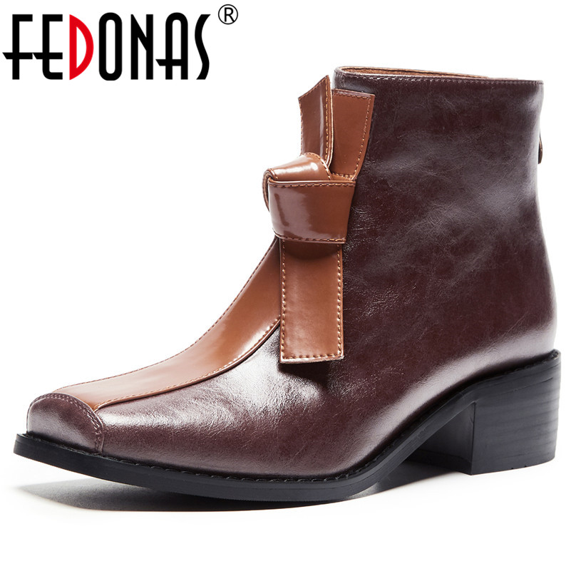 FEDONAS New Comfortable Western Boots Party Office Shoes Woman Quality Genuine Leather Women Ankle Boots Winter Warm High Heels-in Ankle Boots from Shoes