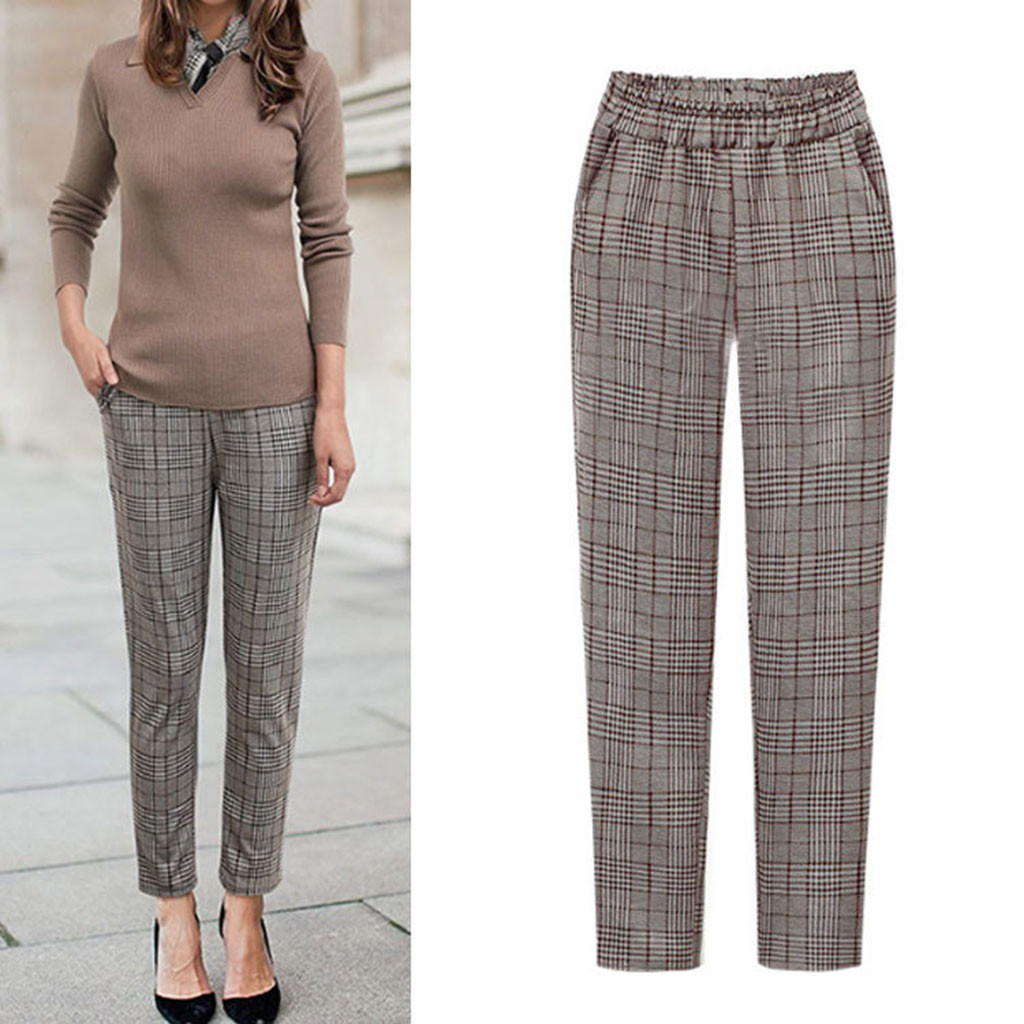 Women's Winter Pants Plus Size брюки женские Wide Leg Elastic Waist Plaid Casual Fittness Pants With Pockets Sweatpants #3/54