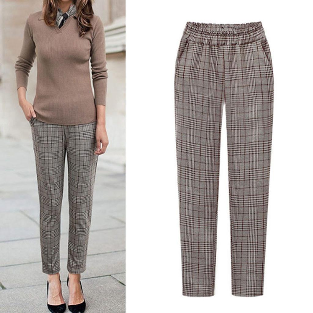 Women's Winter Pants Plus Size брюки женские Wide Leg Elastic Waist Plaid Casual Fittness Pants With Pockets Sweatpants #3/54